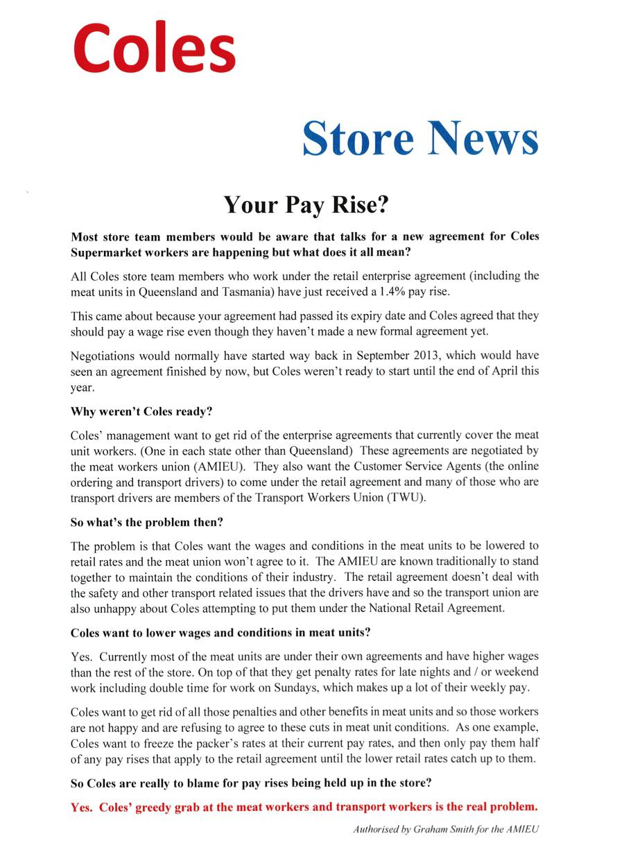 Coles general store handout